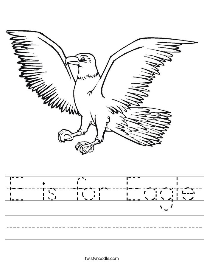 E Is For Eagle Worksheet Twisty Noodle