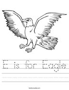 E is for Eagle Handwriting Sheet