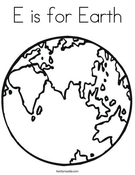 E is for Earth Coloring Page - Twisty Noodle