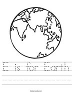 E is for Earth Handwriting Sheet