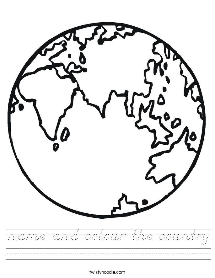 name and colour the country Worksheet