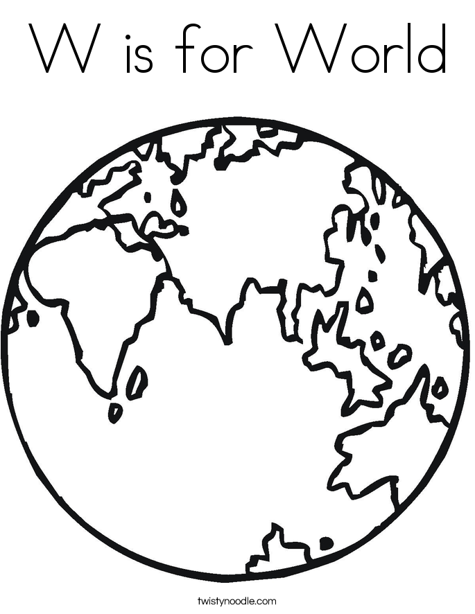 W is for World Coloring Page