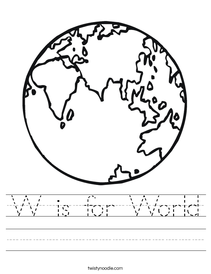 W is for World Worksheet