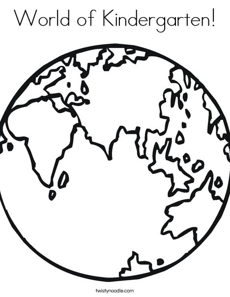 e is for earth coloring page - Kindergarten Coloring Page