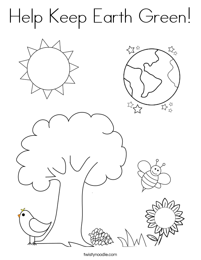 earth flower coloring pages   Help Keep Earth Green Coloring Page - Twisty Noodle