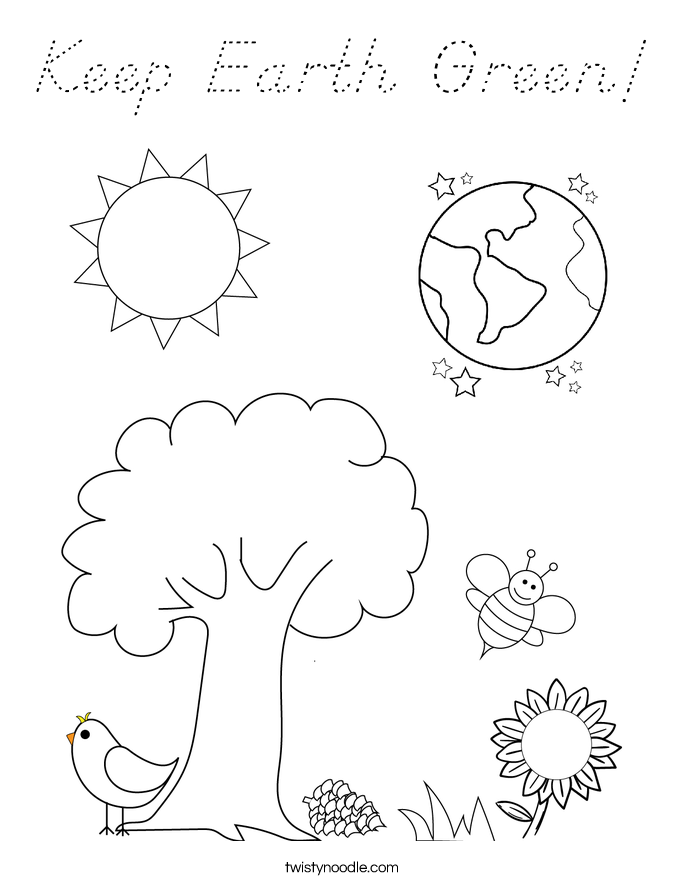 Keep Earth Green! Coloring Page