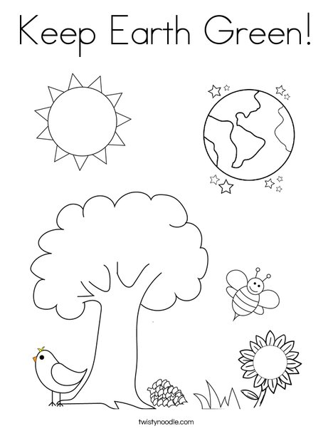 Keep Earth Green Coloring Page Twisty Noodle