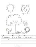 Keep Earth Green Handwriting Sheet