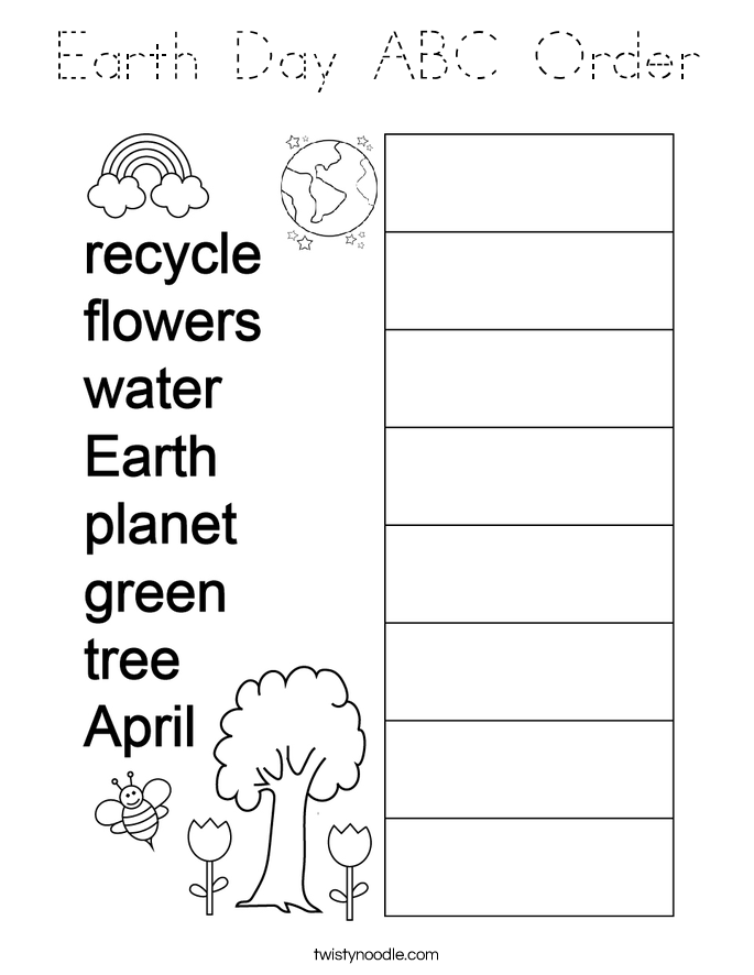 Earth Day ABC Order Coloring Page