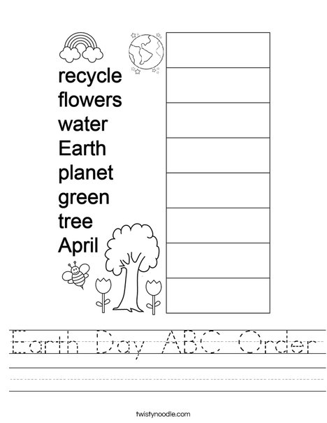 Earth Day ABC Order Worksheet