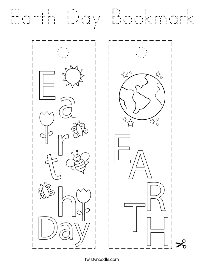 Earth Day Bookmark Coloring Page