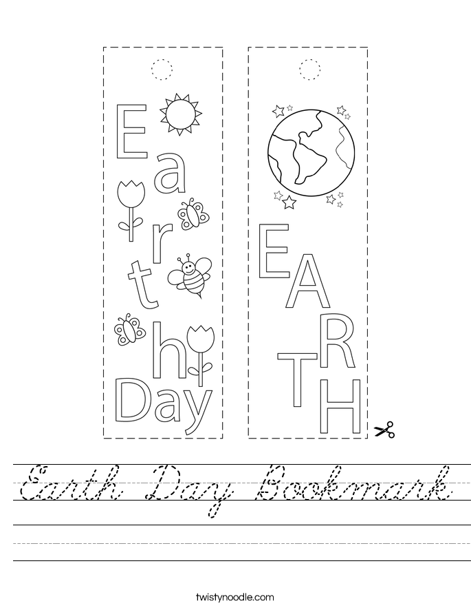 Earth Day Bookmark Worksheet