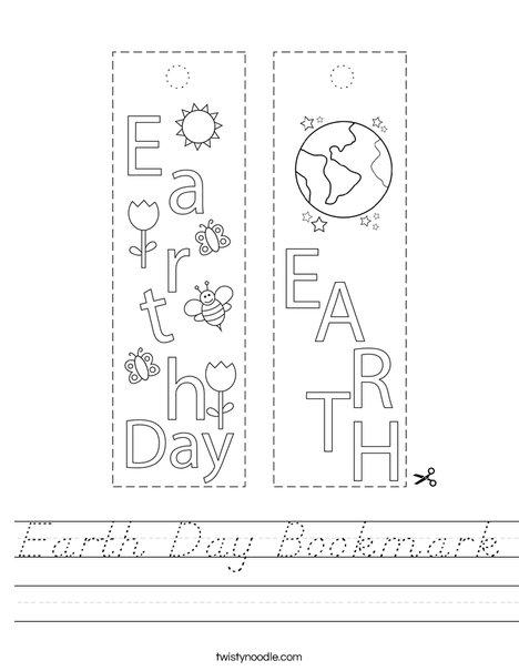 Earth Day Bookmark Worksheet