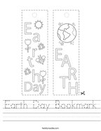 Earth Day Bookmark Handwriting Sheet