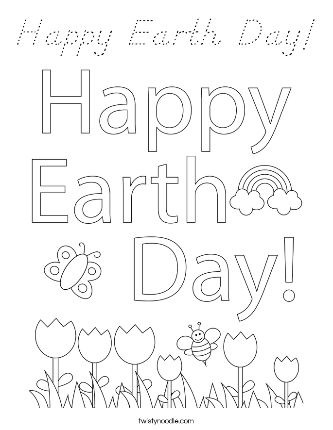 Happy Earth Day Coloring Page D Nealian Twisty Noodle D Day Coloring Pages