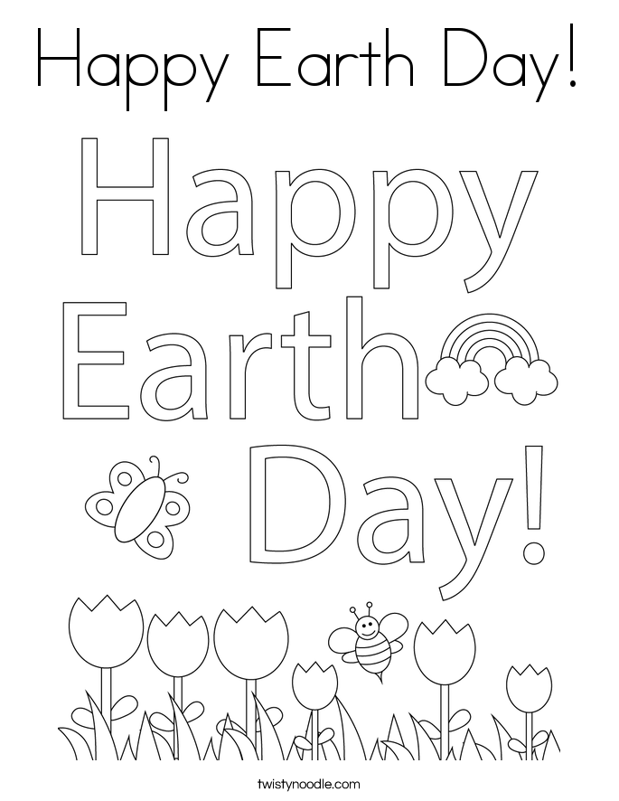 Happy Earth Day! Coloring Page