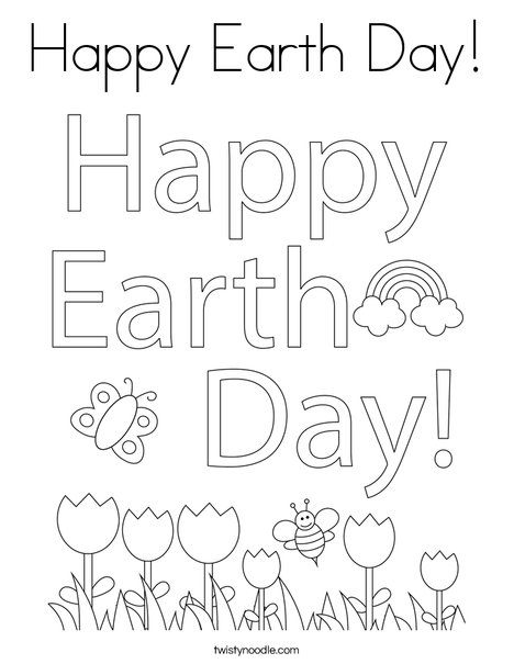 Happy Earth Day Coloring Page Twisty Noodle