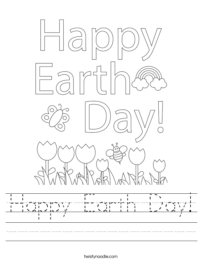 happy earth day worksheet twisty noodle. Black Bedroom Furniture Sets. Home Design Ideas