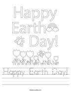 Happy Earth Day Handwriting Sheet