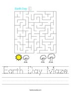 Earth Day Maze Handwriting Sheet