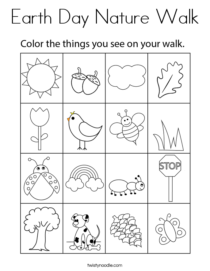 Earth Day Nature Walk Coloring Page
