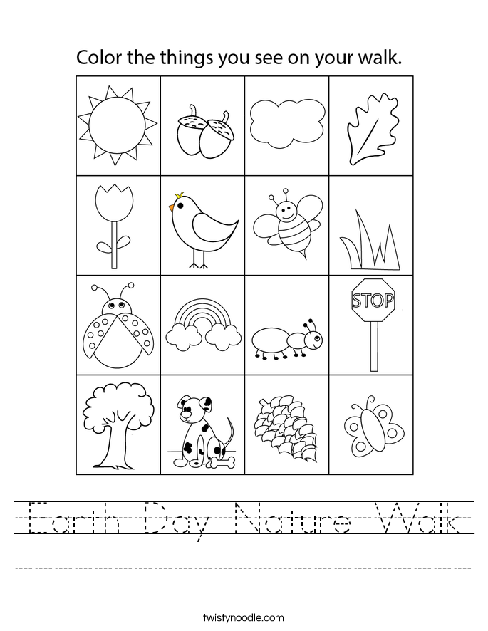 Earth Day Nature Walk Worksheet