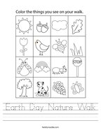 Earth Day Nature Walk Handwriting Sheet