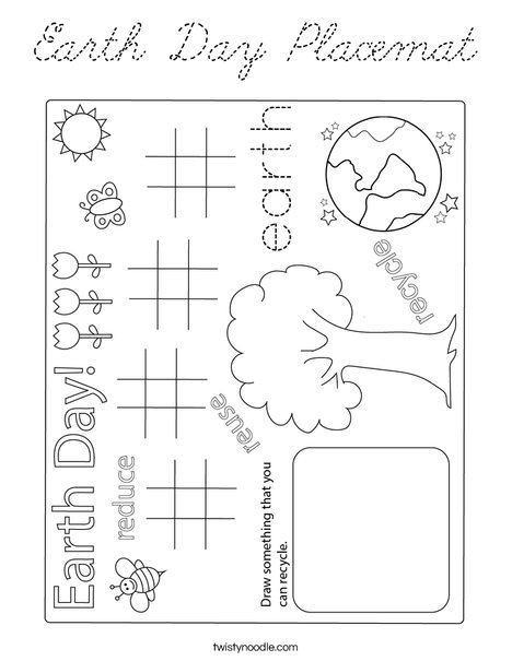 Earth Day Placemat Coloring Page