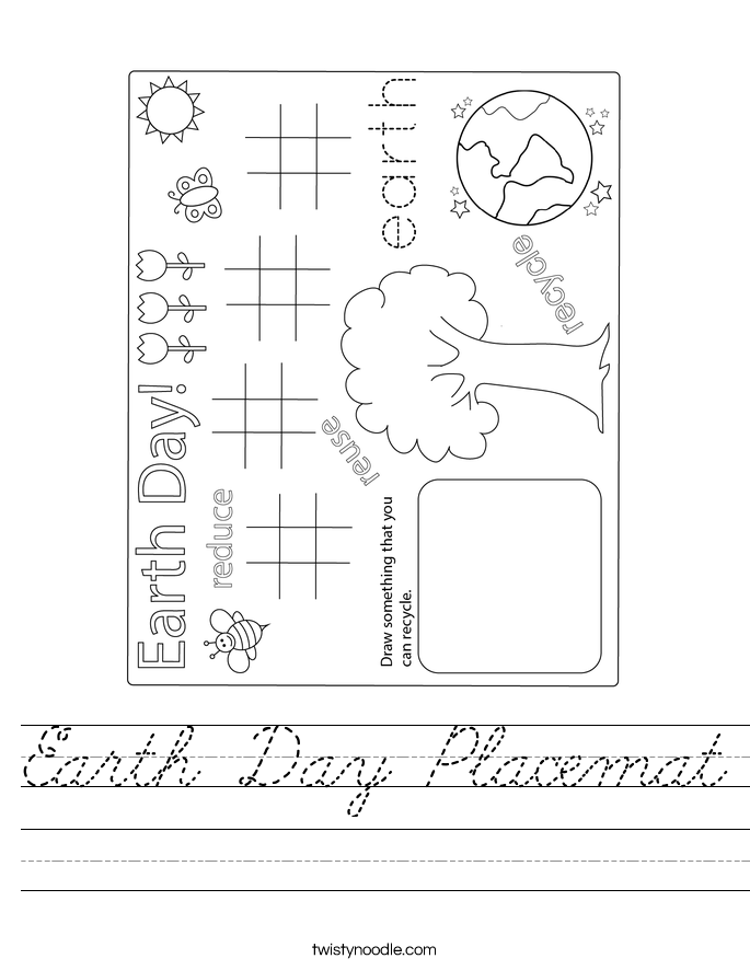 Earth Day Placemat Worksheet