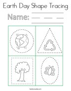 Earth Day Shape Tracing Coloring Page