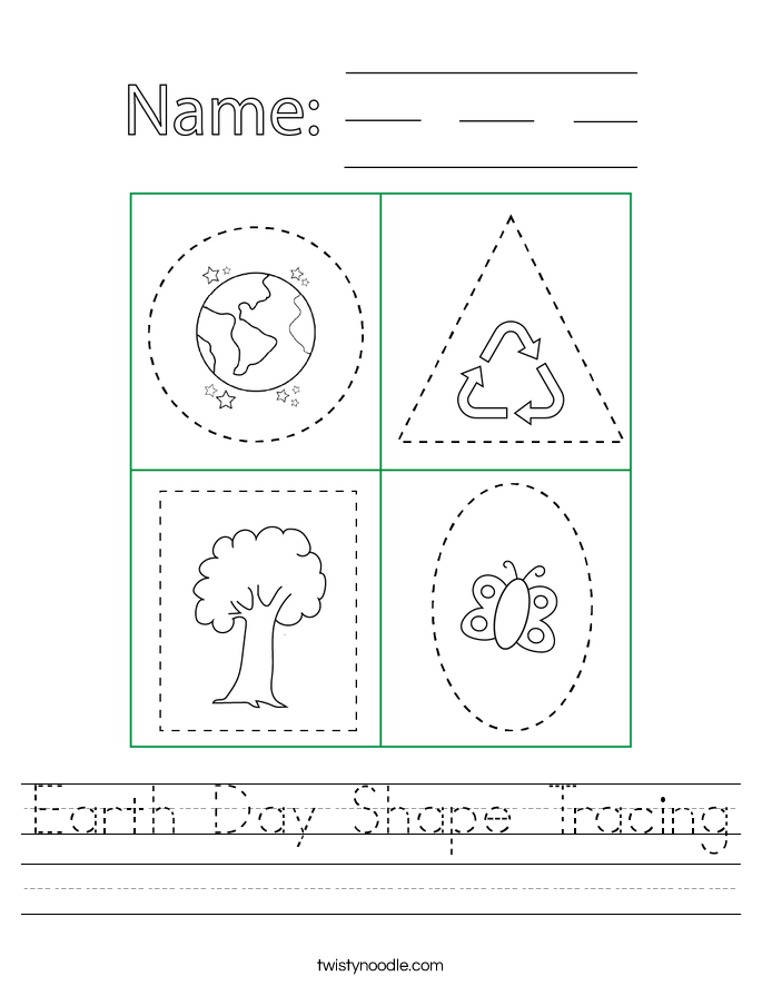 Earth Day Shape Tracing Worksheet