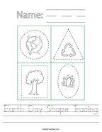 Earth Day Shape Tracing Handwriting Sheet