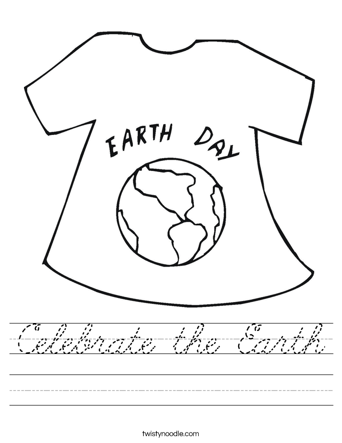 Celebrate The Earth Worksheet Cursive Twisty Noodle