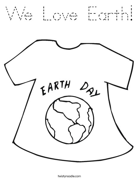 Earth Day Shirt Coloring Page