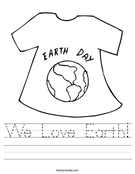 Earth Day Shirt Worksheet