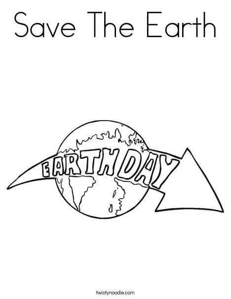 Earth Day with Arrow Coloring Page