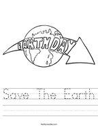 Save The Earth Handwriting Sheet