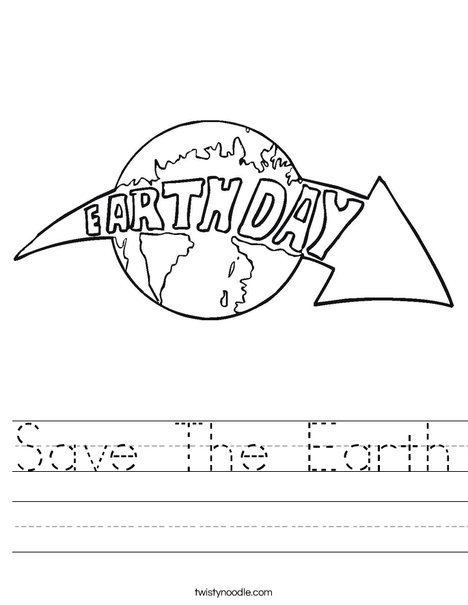 Earth Day with Arrow Worksheet