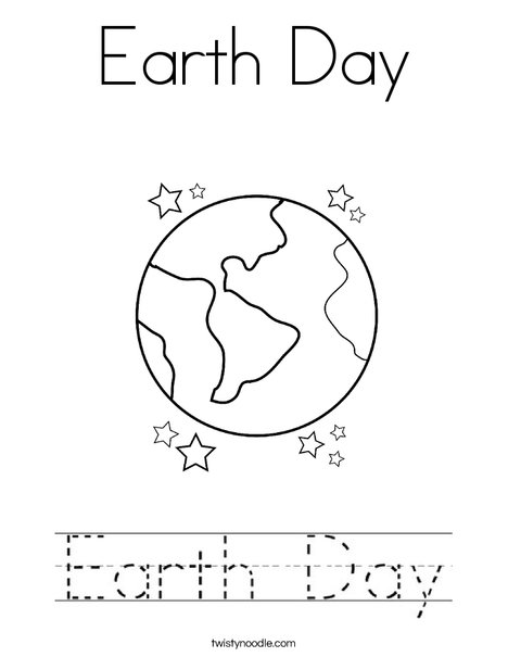 Earth Day with Sun Coloring Page