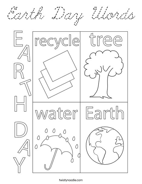 Earth Day Words Coloring Page