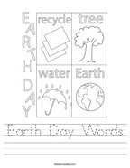 Earth Day Words Handwriting Sheet
