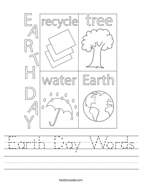 Earth Day Words Worksheet