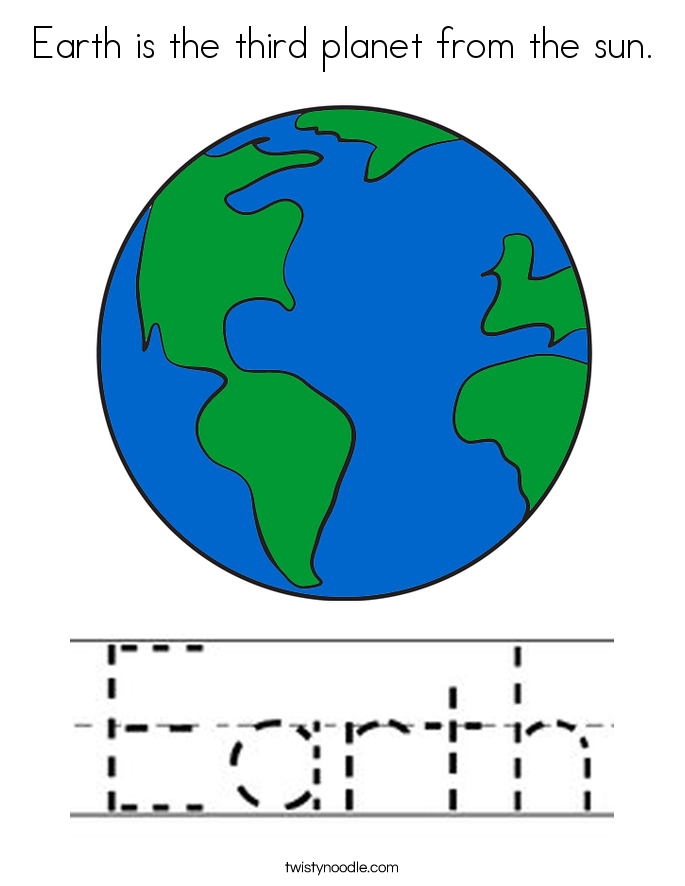 Earth is the third planet from the sun. Coloring Page