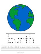 Earth is the third planet from the sun Handwriting Sheet