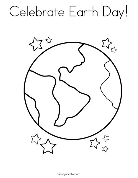Celebrate earth day coloring page twisty noodle earth with stars coloring page ccuart Gallery