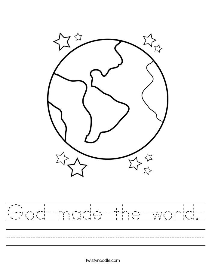 God made the world. Worksheet