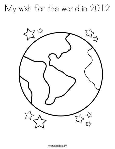 Earth With Stars Coloring Page