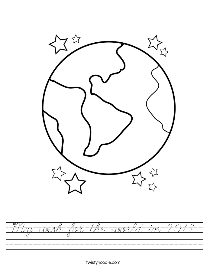 My wish for the world in 2012 Worksheet