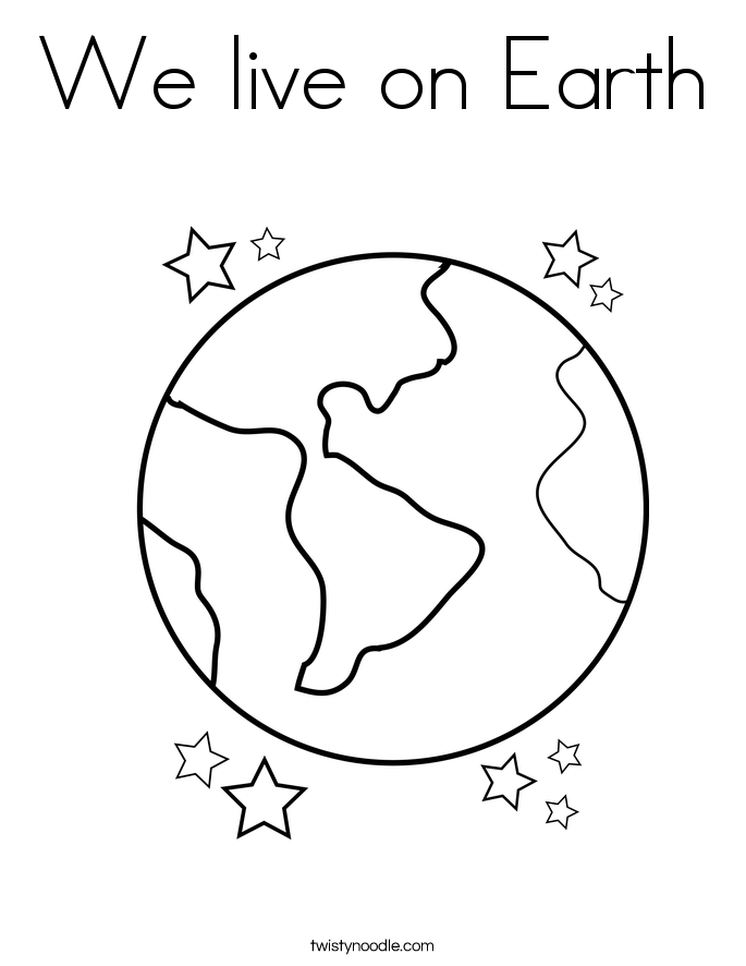 We live on Earth Coloring Page