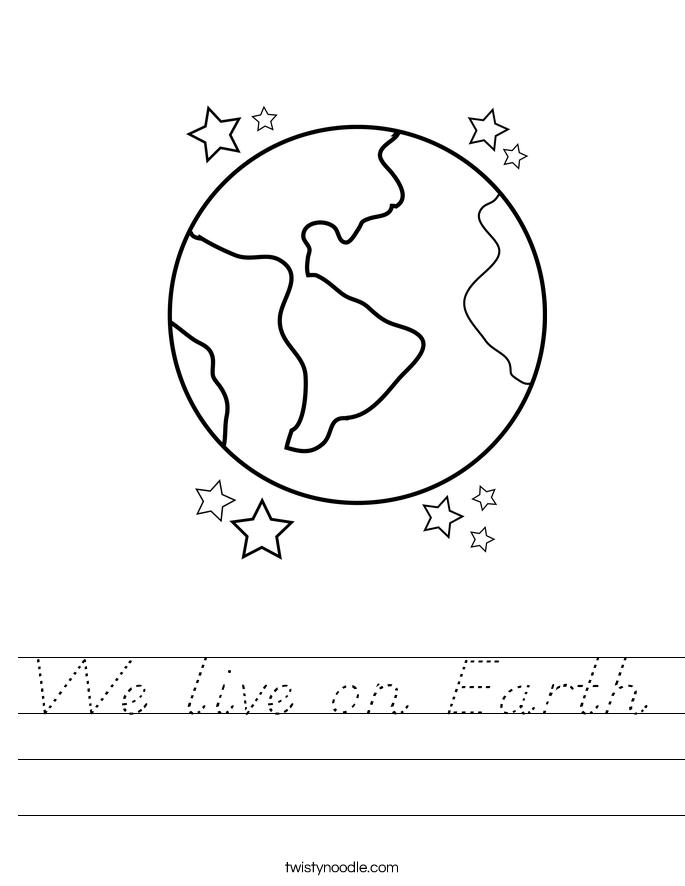 We live on Earth Worksheet